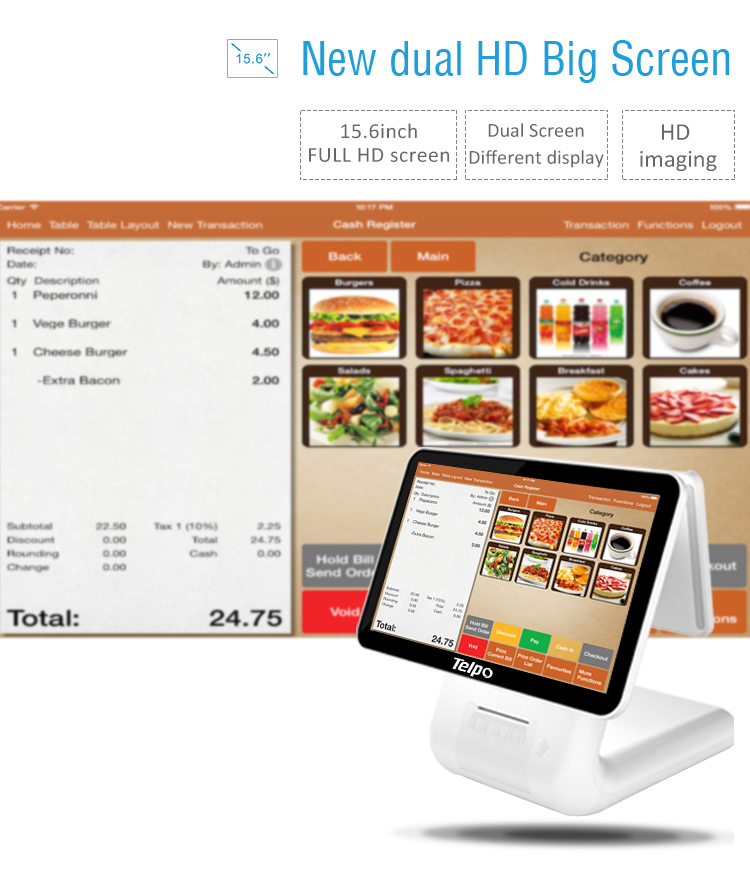 Smart All-in-one Commercial Cash Register with Thermal Graphic Printer