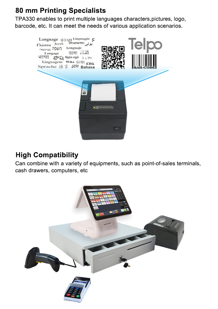 Wifi and Bluetooth 80mm Wired Thermal Printer