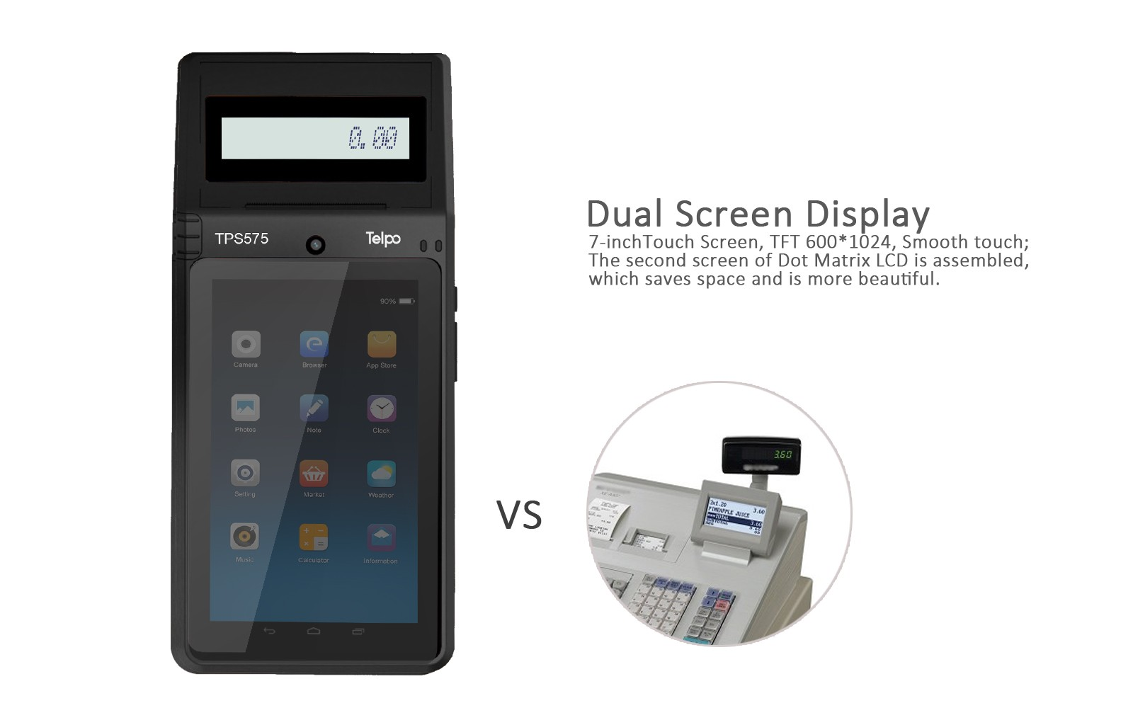 Dual Screen Desktop Smart POS with Barcode Scanner