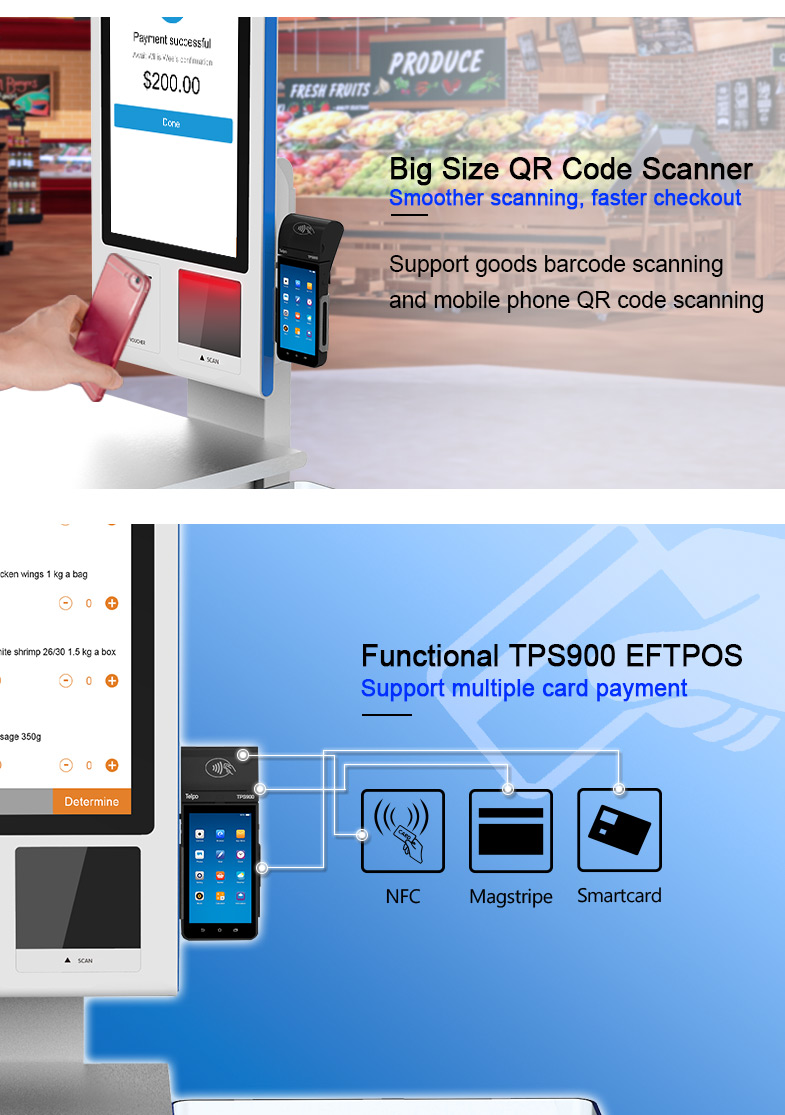 Touch Screen Android Fast Food Self Service Ordering Kiosk Machine